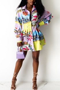 Multicolor Casual Print Split Joint Buckle Without Belt Turndown Collar Top (Not Contain The Belt)