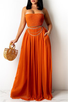 Tangerine Red Sexy Casual Solid Backless Strapless Regular Jumpsuits