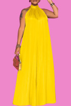 Yellow Casual Solid Split Joint Backless Halter Loose Jumpsuits