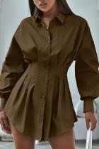 Brown Street Solid Split Joint Fold Turndown Collar Shirt Dress Dresses