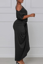 Black Sexy Solid Bandage Split Joint Asymmetrical Oblique Collar Irregular Dress Dresses