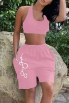 Pink Casual Sportswear Print Vests U Neck Sleeveless Two Pieces