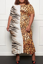 Leopard Print Fashion Casual Plus Size Print Split Joint O Neck Short Sleeve Dress
