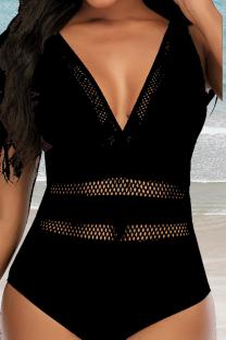 Black Sexy Print Hollowed Out Split Joint Mesh Swimwears