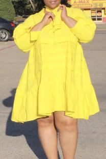 Yellow Casual Solid Split Joint Flounce V Neck Princess Plus Size Dresses