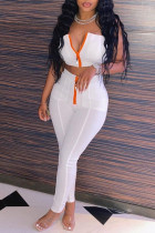 White Sexy Casual Solid Backless Zipper Strapless Sleeveless Two Pieces