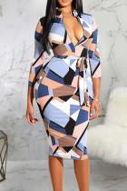 White Casual Print Bandage Split Joint V Neck A Line Dresses