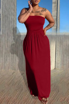 Red Sexy Casual Solid Backless Strapless Sleeveless Dress
