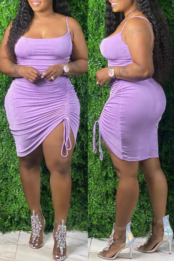 Purple Fashion Sexy Plus Size Solid Draw String Backless Spaghetti Strap Sleeveless Dress