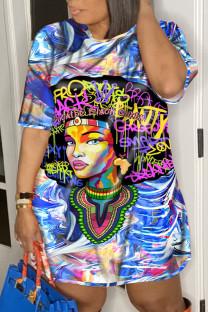 Blue Street Print Split Joint O Neck T-shirt Dress Plus Size Dresses
