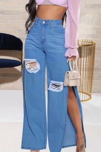 Blue Street Solid Ripped Split Joint Cardigan High Waist Loose Denim Jeans