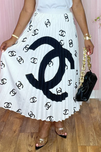 White Fashion Casual Print Basic Regular High Waist Pleated Skirt