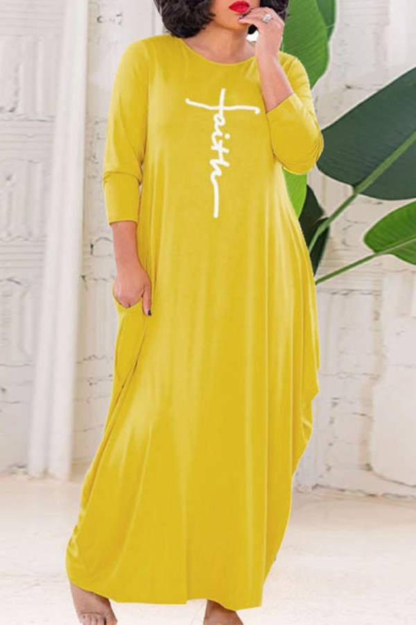 Yellow Casual Letter Print Split Joint O Neck Long Sleeve Plus Size Dresses