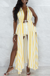 Yellow Sexy Print Hollowed Out Split Joint Backless Slit Asymmetrical Sleeveless Two Pieces