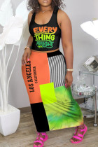Orange Fashion Casual Letter Printing Vest Top Skirt Two-piece Set