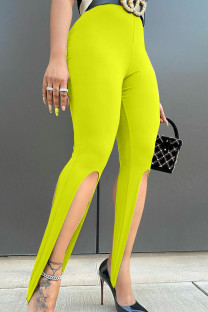 Fluorescent Yellow Sexy Solid Split Joint Asymmetrical Skinny High Waist Pencil Solid Color Bottoms