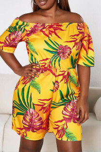 Yellow Sexy Print Split Joint Off the Shoulder Plus Size Jumpsuits