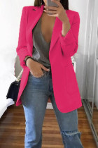 Rose Red Fashion Casual Solid Cardigan Turndown Collar Plus Size Coats