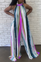 Purple Casual Striped Print Backless Turtleneck Regular Jumpsuits