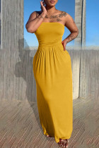 Yellow Sexy Casual Solid Backless Strapless Sleeveless Dress