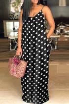 Black And White Sexy Print Split Joint Spaghetti Strap Straight Dresses