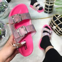 Rose Red Fashion Casual Split Joint Rhinestone Flats Slippers