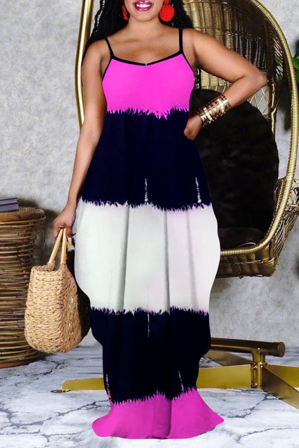 Pink Casual Print Split Joint Spaghetti Strap Cake Skirt Dresses