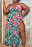 Green Sexy Print High Opening Irregular Dress Plus Size Dresses