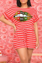 Red Casual Striped Print O Neck Short Sleeve Two Pieces