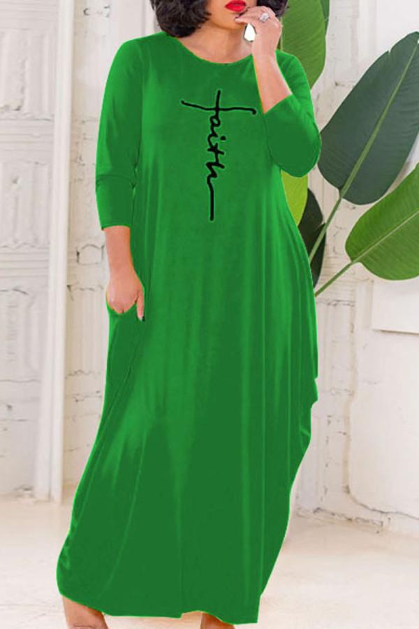 Green Casual Letter Print Split Joint O Neck Long Sleeve Plus Size Dresses