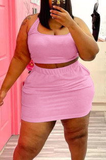 Pink Casual Solid Split Joint U Neck Straight Plus Size Two Pieces