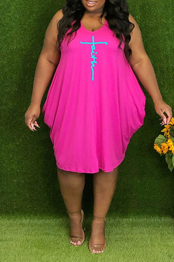 Pink Casual Print Split Joint V Neck Vest Dress Plus Size Dresses