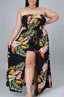 Black Sexy Print Bandage Split Joint Asymmetrical Plus Size Jumpsuits