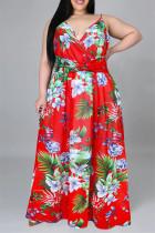 Red Fashion Casual Print Backless V Neck Sling Dress