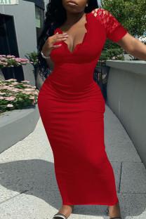 Red Fashion Solid Split Joint V Neck Short Sleeve Dress