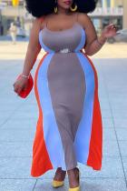 Blue Orange Sexy Solid Split Joint Spaghetti Strap Pencil Skirt Plus Size Dresses