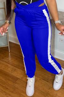 Blue Casual Sportswear Patchwork Basic Regular High Waist Trousers