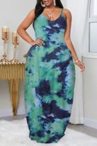 Green Fashion Plus Size Solid Backless Spaghetti Strap Sleeveless Dress