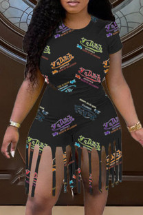Black Fashion Casual Print Tassel O Neck Short Sleeve Two Pieces