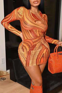 Orange Sexy Print Hollowed Out Split Joint O Neck Pencil Skirt Dresses