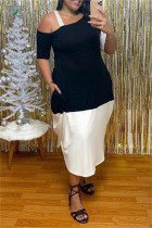 White Fashion Casual Plus Size Patchwork Asymmetrical Oblique Collar Short Sleeve Dress