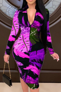 Purple Fashion Casual Print Basic Zipper Collar Printed Dress