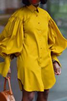 Yellow Fashion Elegant Solid Split Joint Fold Turndown Collar Tops