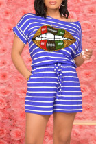 Blue Casual Striped Print O Neck Short Sleeve Two Pieces