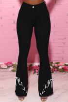 Black Casual Solid Draw String Mid Waist Boot Cut Denim Jeans