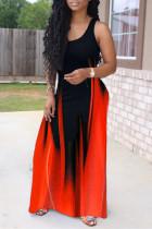 Red Fashion Sexy Print Basic O Neck Vest Dress