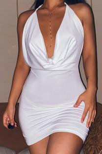 White Celebrities Solid Split Joint Frenulum Backless Halter Pencil Skirt Dresses