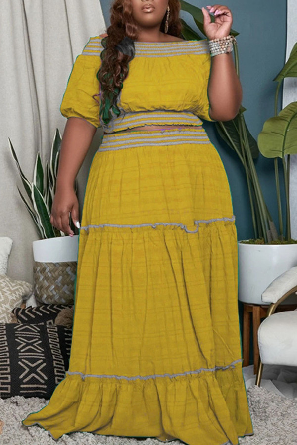 Yellow Casual Solid Split Joint Off the Shoulder Straight Plus Size Two Pieces