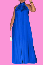 Blue Casual Solid Split Joint Backless Halter Loose Jumpsuits
