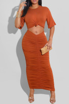 Orange Sexy Casual Solid Hollowed Out Fold O Neck Short Sleeve Dress